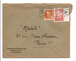 DANEMARK AFFRANCHISSEMENT COMPOSE SUR LETTRE POUR LA FRANCE 1950 - Affrancature Meccaniche Rosse (EMA)