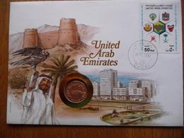 (2) UNITED ARAB EMIRATES COIN LETTER 1987 SEE SCAN. - Emirats Arabes Unis (Général)
