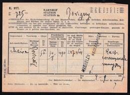 TRES RARE ! 1947 OBL. GRIFFE GARE  * MECHELEN NECKERSPOEL * SUR AVIS DE NON RENTREE > BOVIGNY - MECHELEN - STATION - 1942-1951
