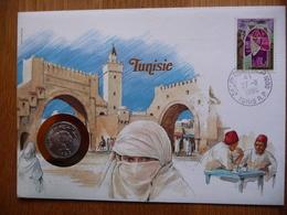 (2) TUNESIE TUNISIE  COIN LETTER 1986 SEE SCAN. - Tunesië (1956-...)