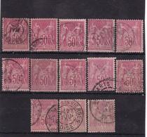 # Z.10899 France Republic 1884 - 90 Type II. 13 X Value 50 C. Used, Yvert 98, Michel 81: Pax & Mercur - 1876-1898 Sage (Type II)