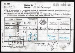 TRES RARE ! 1947 OBL. GRIFFE + TRAIN GARE  * BOVIGNY * SUR AVIS DE NON RENTREE > MICHEROUX > BOVIGNY - STATION - 1942-1951