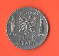 Albania 1 Lek 1939 Occupazione Italiana War Currency Italian Occupation - Albanie
