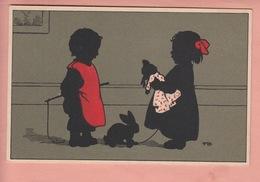 OLD POSTCARD -  CHILDREN - ARTIST SIGNED BAUMGARTEN - GIRL WITH DOLL - Baumgarten, F.