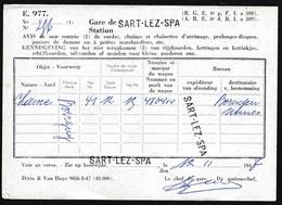 TRES RARE ! 1947 OBL. 3 X GRIFFE GARE  * SART LEZ SPA * SUR AVIS DE NON RENTREE > SART LEZ SPA > BERINGEN - STATION - 1942-1951