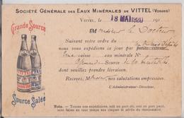 Société Générale Des Eaux Minérales De Vittel Carte Publicitaire Publicité Illustrée - Vittel Contrexeville