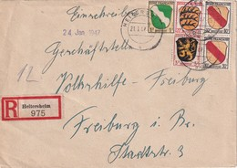 ALLEMAGNE 1947 ZONE FRANCAISE LETTRE RECOMMANDEE DE HEITERSHEIM - French Zone