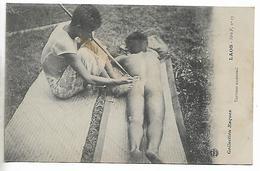 Old Postcard, Laos, Tatoueur Au-travail. Native Tattooist, Tattoo. - Laos