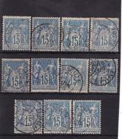 # Z.10901 France Republic 1892 Type II. 11 X Value 15 C. Used, Yvert 101, Michel 83: Pax & Mercur - 1876-1898 Sage (Type II)