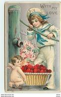 N°11796 - Carte Fantaisie Gaufrée - With My Love - Angelot Récupérant Des Coeurs - Valentijnsdag