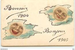 N°11784 - Carte Fantaisie - Bonsoir 1904 - Bonjour 1905 - Visages Dans Des Nuages - Anno Nuovo