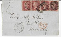 GB - 1865 - YVERT N°26 X 4 PL 87 Sur LETTRE (LSC) De LONDON => MARSEILLE - 1840-1901 (Regina Victoria)