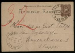 S8268 DR Pfg GS Rohrpostkarte: Gebraucht Berlin 1887 , Bedarfserhaltung.. - Postwaardestukken