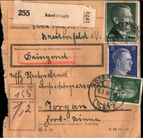 ! 1943 Paketkarte Deutsches Reich, Adorf Im Vogtland, Landpoststempel Breitenfeld - Allemagne