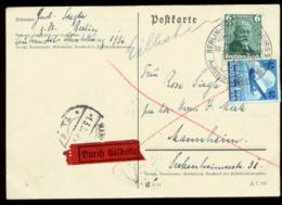 S8203 - DR Daimler ,Lufthansa MiF Express Postkarte: Gebraucht Mit Sonderstempel  Berlin - Mannheim 1936, Bedarfserhal - Alemania
