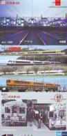 3 Carte Prépayée JAPON Différentes * CHEMIN DE FER (LOT TRAIN A-134) JAPAN * 3 TRAIN DIFFERENT PHONECARDS - Treni