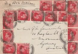 Great Britain, EVIIIR, 1'3 Air Mail LEEDS 28 AP 37 > Australai - MOSMAN N.S.W. 11 MY 37 - 1902-1951 (Kings)