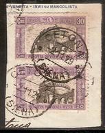"""(Fb).Regno.V.E.III.1928.""""Pro Opera Prev. Milizia"""" 2° Emiss.-30c,due Val Usati Su Framm. Di Lettera (32-16) - Usati"""