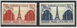 """FR YT 911 & 912 """" Les Nations Unies à Paris """" 1951 Neuf** - France"""