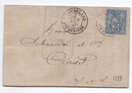 1877 - LETTRE Avec TYPE 18 De GENELARD (SAONE ET LOIRE) Sur TYPE SAGE - Marcophilie (Lettres)