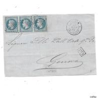 Maritime Devant De Lettre ITALIE 1 SALONIQUE  1869  FR N° 29X3 GC 5095 - Poststempel (Briefe)
