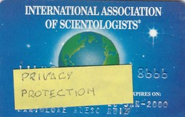 SCHEDA TESSERA INTERNATIONAL ASSOCIATION OF SCIENTOLOGISTS  NON ATTIVA - Autres Collections