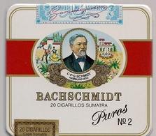 BOITE METALLIQUE VIDE DE  20  CIGARILLOS SUMATRA MARQUE  BACHSCHMIDT PUROS N° 2  * MADE IN GERMANY  * TRES BEAU DECOR * - Cigar Cases