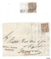 Bureau Français à L'étranger 2 Fragments De Lettre LES DARDANELLES TURQUIE  CAD Bleu S/SAGE - 1849-1876: Classic Period