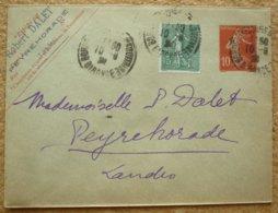 Entier Postal Enveloppe Type 10c Semeuse Camée Avec Complément D'affranchissement Oblitération Bordeaux - Standard Covers & Stamped On Demand (before 1995)