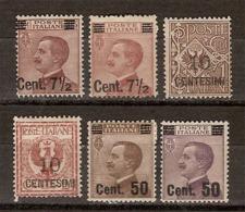 (Fb).Regno.V.E.III.1923-27.Soprastampati.Serie 6 Val Nuovi (111-19) - 1900-44 Victor Emmanuel III.