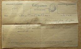 Télégramme D'Aix Pour Pelissanne Bouches Du Rhône 1907 - Telegraaf-en Telefoonzegels