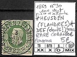 D - [844292]DEF//O/Used-Belgique 1869 - N° 30, Relais (étoiles) *HEUSDEN (FLANDRES)*, 10c Vert, Pièce D'attente, DEF (de - Poststempel