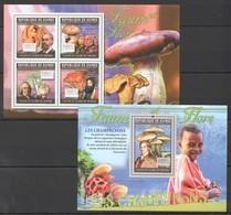 BC159 2011 GUINEE GUINEA FAUNE & FLORE FLORA MUSHROOMS LES CHAMPIGNONS 1KB+1BL MNH - Paddestoelen