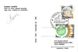 Roma Filatelico 25-8-1990 Annullo Su Cartolina EUROPA TURRITA Firmata Dal Pittore - Esposizioni Filateliche