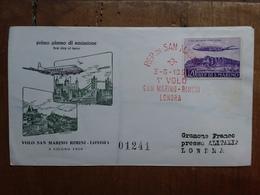 SAN MARINO - 1° Volo San Marino-Rimini-Londra + Spese Postali - FDC