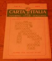 Carta D'italia Del Touring Club Italiano. Foglio 1. Aosta. 1951. - Autres