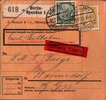 ! 1935 Paketkarte Eilboten, Expres, Deutsches Reich, Berlin Spandau Nach Wermsdorf - Storia Postale