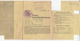 Germany Reich Austria Vierte Reichskleiderkarte Ration Coupons Wien 1944 B191215 - Documenti Storici
