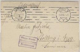 DR - Flieger-Ersatz-Abteilung 4 Posen Feldpostkartenbrief Posen W3 1916 N. - Allemagne