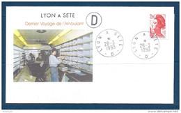 Env Dernier Voyage De L'ambulant , Lyon à Sète  -2è D, 28-3-93, , N°2376 Y Et T - Poste Ferroviaire
