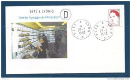 Env Dernier Voyage De L'ambulant , Sète à  Lyon -2è D, 26-3-93, , N°2773 Y Et T - Poste Ferroviaire