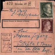 ! 1943  Paketkarte Deutsches Reich, Breslau - Allemagne