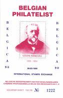 VIGNETTE Belgium 1990 Mint, Belgica 90, Belgian Philatelic Association, Louis Hanciau Stamp Dealer, Assistant J.B. Moens - Expositions Philatéliques