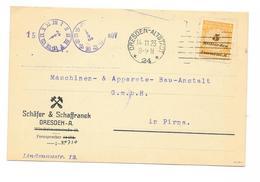DR Infla Brief EF Mi.327 B Dresden Altstadt 14.11.23, Geprüft - Deutschland