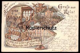 ALTE LITHO POSTKARTE GRUSS AUS KÖLN ZUR ZWEISPANN 1896 KÖLNER KNEIPE KÖLSCH Röggelche Met Kies Jocus Cöln Wallraff Cpa - Koeln