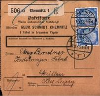 ! 1933 Paketkarte Deutsches Reich, Chemnitz Nach Mühlau, 471 Mef Hindenburg - Briefe U. Dokumente