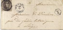 BRIEF D38 N°3 NANDRIN LIEGE MET PB X-27.12.1850 - 1849-1850 Medaillons (3/5)