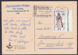 Sorbische Trachten Klitten Kletno 25 Pf.  DDR 2212 Auslandskarte Portogenau, MWSt. Leipzig Lehrschau Tierproduktion - DDR