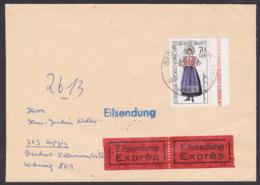 Sorbische Trachten Muskau Muzakow 70 Pf.  DDR 2214 Eil-Brief Portogenau Aus Bad Sülze - Briefe U. Dokumente