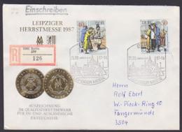 Leipzig Messe 1984 DDR 3129/21 R-Doppel-Brief, Portogenau SoSt. Berlin 25.8.87 Ausgabetag, Marken Aus Block 88 - [6] République Démocratique